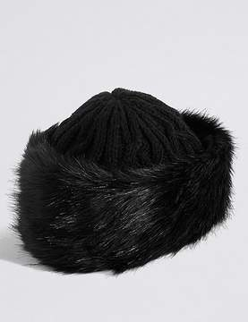Marks and Spencer Faux Fur Cable Knit Winter Hat