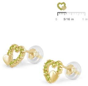 Ice 14K Yellow Gold Double Hearts Girls' Stud Earrings
