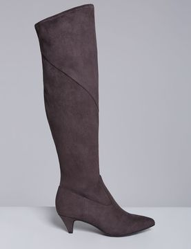 Lane Bryant Stretch Faux Suede Kitten-Heel Boot