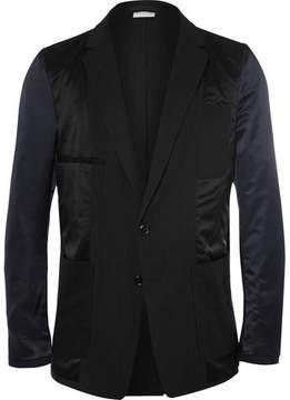 Dries Van Noten Black Inside Out Slim-Fit Panelled Wool-Satin Blazer