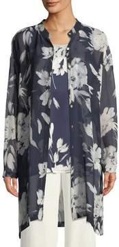 Go Silk Floral Silk Georgette Tunic, Plus Size