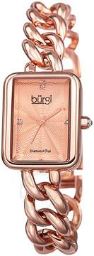 Burgi Rose Diamond Dial Rose Gold-Tone Brass Ladies Watch