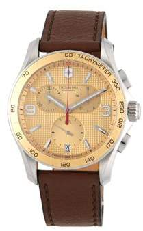 Victorinox Stainless Steel & Leather Strap Chronograph Watch