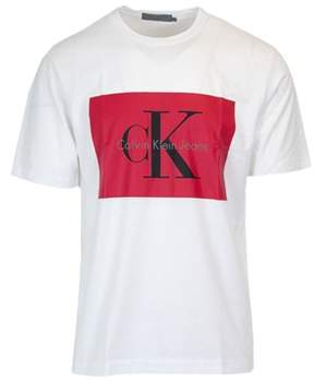 Calvin Klein Jeans Men's White Cotton T-shirt.