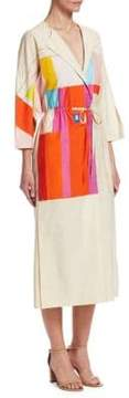 Akris Mural Print Cotton Drawstring Dress