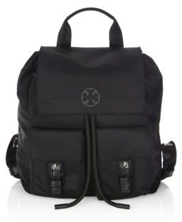 Tory Burch Quinn Drawstring Backpack - BLACK - STYLE