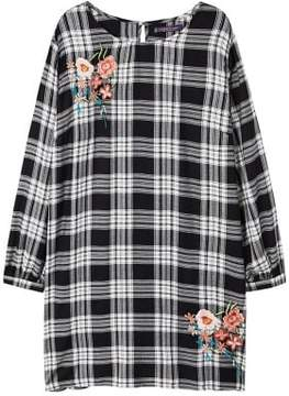 Violeta BY MANGO Embroidered checked dress