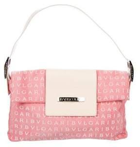 Bvlgari Leather-Trimmed Monogram Shoulder Bag