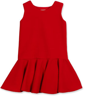 Helena Sleeveless Stretch Pique Fit-and-Flare Dress, Red, Size 7-14