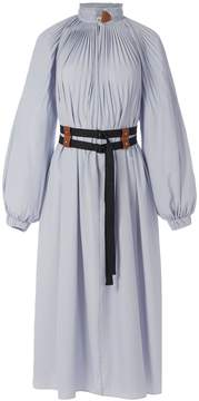Tibi Isabelle Shirting Edwardian Dress with Removable Belt