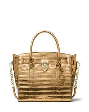 MICHAEL Michael Kors Hamilton Large East-West Embossed Leather Satchel Bag