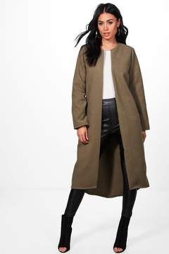 boohoo Danielle Collarless Edge To Edge Wool Coat