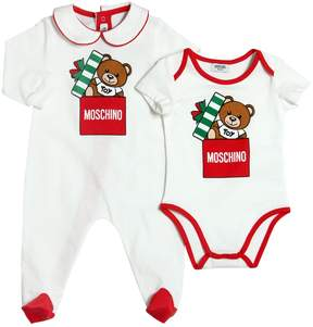 Moschino Holiday Cotton Jersey Romper & Bodysuit