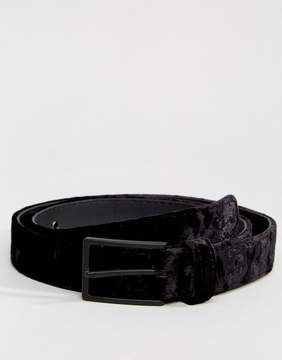 Asos Slim Belt In Black Velvet With Matte Black Buckle