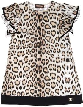 Roberto Cavalli Leopard Printed Cotton Jersey Dress