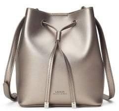 Lauren Ralph Lauren Logo Leather Drawstring Crossbody Bag