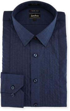 Neiman Marcus XTrim-Fit Regular-Finish Poplin Dress Shirt, Blue