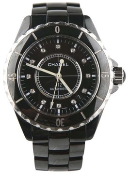 Chanel J12 Classic H0685 Stainless Steel Black Ceramic Automatic Diamond Dial 38mm Unisex Watch