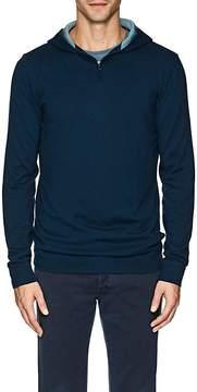 Loro Piana Men's Contrast-Detailed Silk-Cashmere Half-Zip Hoodie