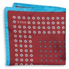 Eton Contrast-Border Floral Pocket Square