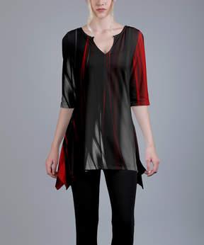 Azalea Red & Gray Abstract Notch Neck Tunic - Plus