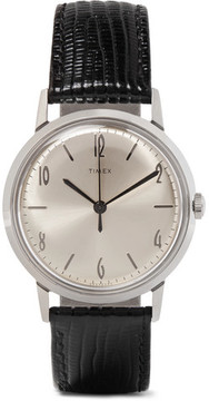 Timex Marlin Stainless Steel And Cross-Grain Leather Watch