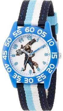 Marvel Marvel's Avengers Infinity War-Rocket Raccoon Boys' Blue Plastic Time Teacher Watch, Blue and Black Stripe Nylon Strap
