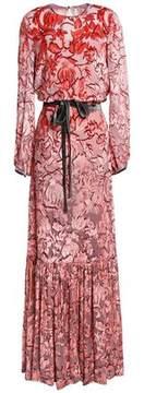 Alexis Belted Silk Devoré-Velvet Gown