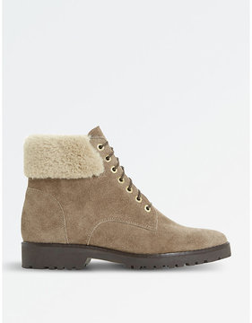 Dune Ladies Beige Contrast Stitch Luxury Shearling Suede Boots