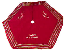 Asstd National Brand 56 Red Happy Holidays Christmas Tree Skirt with Striped Trim