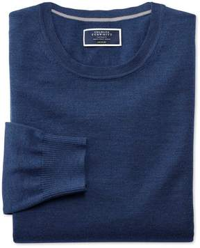 Charles Tyrwhitt Mid Blue Merino Wool Crew Neck Sweater Size Large