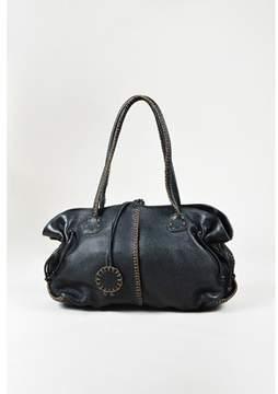 Carlos Falchi Pre-owned Black Pebbled Leather Topstitch Drawstring Shoulder Bag.