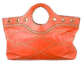 Michael Kors Leather Whipstitch Tote - ORANGE - STYLE
