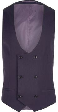 River Island Mens Purple double breasted suit vest