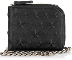 Jimmy Choo CHILTERN Black Leather Wallet with Stars and Chain