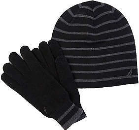Nautica Striped Hat & Gloves Gift Set