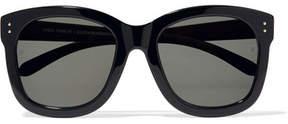 Linda Farrow Square-frame Acetate And Wood Sunglasses - Black