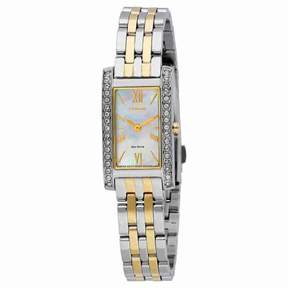 Citizen Silhouette Crystal Mother Of Pearl Dial Ladies Two Tone Watch EX1474-51D