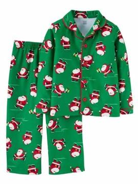 Carter's Infant & Toddler Boys Green Flannel Santa Claus Christmas Pajamas 12m