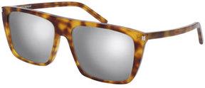 Saint Laurent Mirrored Flat-Top Sunglasses, Brown Havana