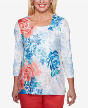 Alfred Dunner Sun City Embellished Square-Neck Top