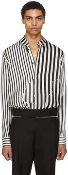 Haider Ackermann White and Black Silk Classic Brucite Shirt