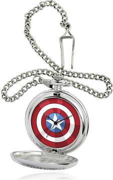 Marvel Captain America Shield Mens Silver-Tone Pocket Watch