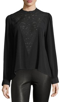 Astr Embroidered Long-Sleeve Blouse