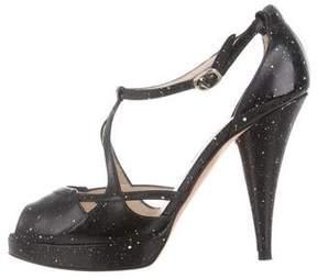 Oscar de la Renta Peep-Toe Platform Sandals