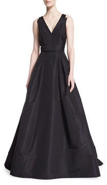 Carolina Herrera Sleeveless V-Neck Ball Gown, Black