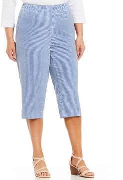 Allison Daley Plus Pull-On Plaid Print Capri Pants