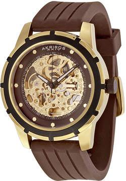 Akribos XXIV Akribos Automatic Gold-Tone Skeleton Dial Brown Rubber Men's Watch