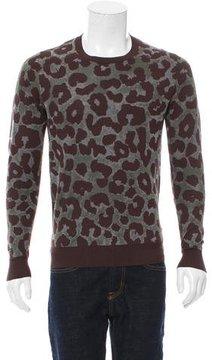 Dries Van Noten Animal Print Crew Neck Sweater