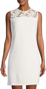 Donna Ricco Lace-Yoke Crepe Shift Dress